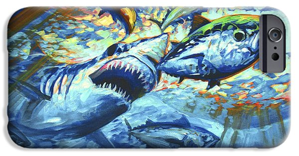 Shark Paintings iPhone Cases - Sushi for Breakfast iPhone Case by Mike Savlen