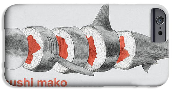 Fish Drawings iPhone Cases - Sushi Mako iPhone Case by Eric Fan