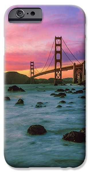 Connection iPhone Cases - Suspension Bridge Across A Bay At Dusk iPhone Case by Panoramic Images