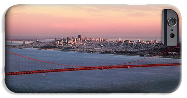 Bay Bridge iPhone Cases - Suspension Bridge Across A Bay, Golden iPhone Case by Panoramic Images