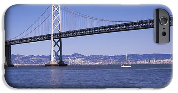 Bay Bridge iPhone Cases - Suspension Bridge Across The Bay, Bay iPhone Case by Panoramic Images