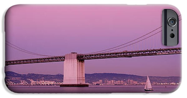 Bay Bridge iPhone Cases - Suspension Bridge Over A Bay, Bay iPhone Case by Panoramic Images