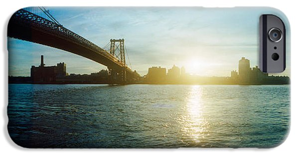 Connection iPhone Cases - Suspension Bridge Over A River iPhone Case by Panoramic Images