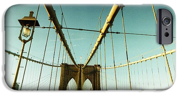 Connection iPhone Cases - Suspension Bridge With A City iPhone Case by Panoramic Images