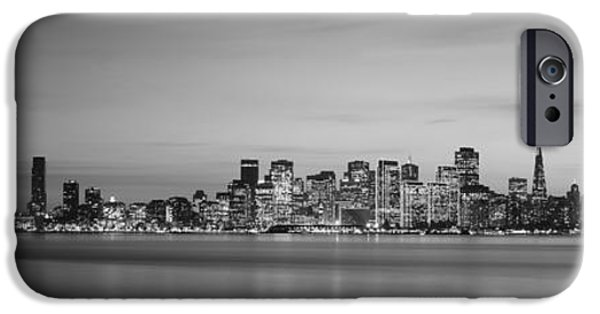 Oakland Bay Bridge iPhone Cases - Suspension Bridge With City Skyline iPhone Case by Panoramic Images