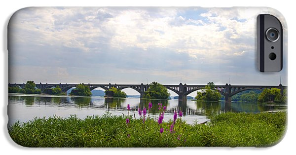 York County iPhone Cases - Susquehanna River and the Veterans Memorial Bridge iPhone Case by Bill Cannon
