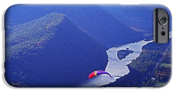 Over Hang iPhone Cases - Susquehanna River mountains and hang glider iPhone Case by Blair Seitz
