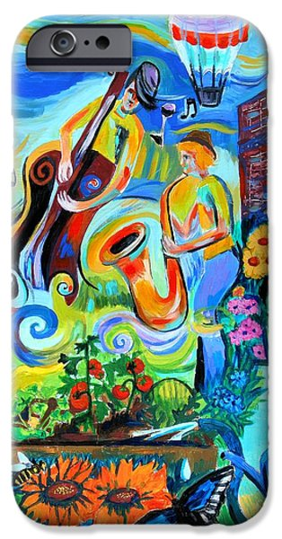 Rain Barrel iPhone Cases - Dogtown Street Musicians Festival iPhone Case by Genevieve Esson