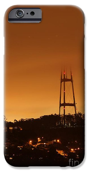 Towering Pyrography iPhone Cases - Sutro tower in the fog iPhone Case by David Rasmussen