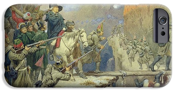 Bayonet iPhone Cases - Suvorov Crossing The Devils Bridge In 1799, 1880 Wc On Paper iPhone Case by Aleksei Danilovich Kivshenko