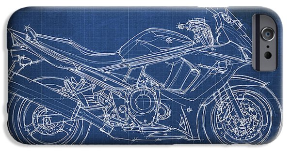 Suzuki iPhone Cases - Suzuki GSX 650F 2011 Blueprint iPhone Case by Pablo Franchi