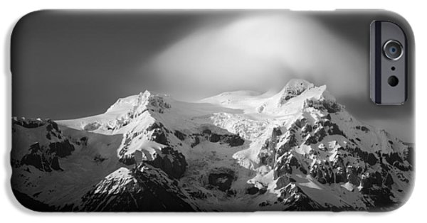 Winter Scene iPhone Cases - Svinafell Mountains iPhone Case by Dave Bowman