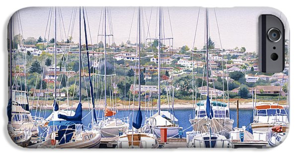 Sail Boat iPhone Cases - SW Yacht Club in San Diego iPhone Case by Mary Helmreich