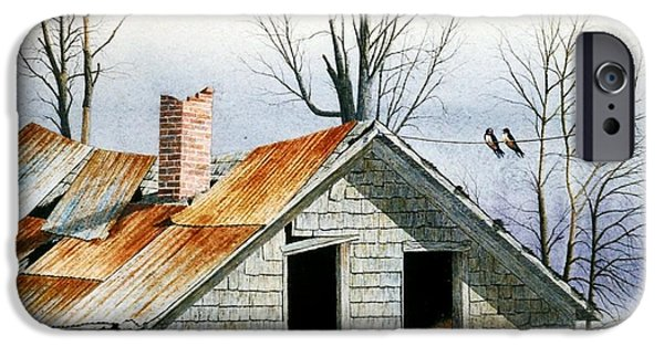 Barn Swallow iPhone Cases - Swallows Good-bye iPhone Case by Conrad Mieschke
