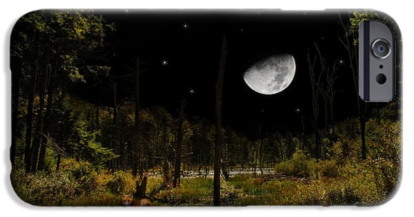 Rollo Digital Art iPhone Cases - Swamped Moon Landscape iPhone Case by Christina Rollo
