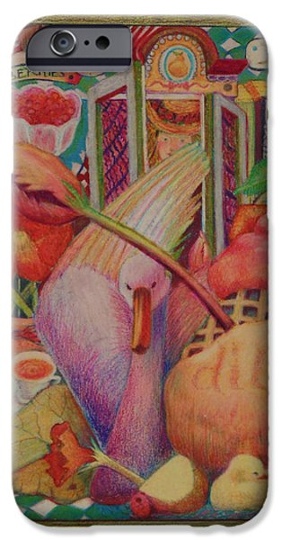 Montage Drawings iPhone Cases - Swan and tulip iPhone Case by Nancy Wayland