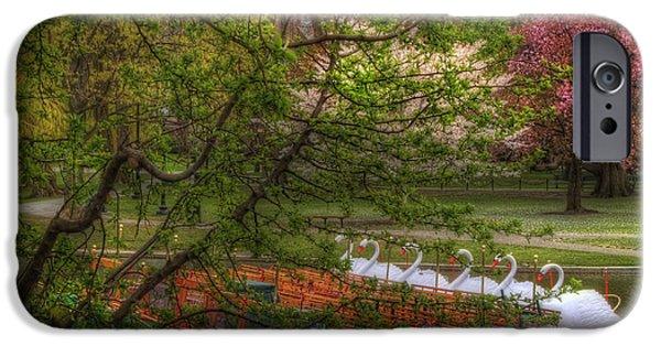 Scenic Boston iPhone Cases - Swan Boats in Boston Public Garden iPhone Case by Joann Vitali