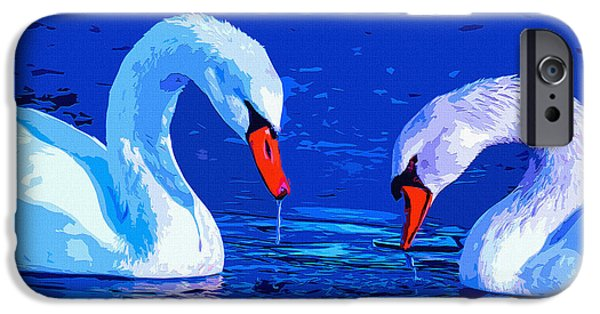 Bonding Mixed Media iPhone Cases - Swan Bond iPhone Case by Brian Stevens
