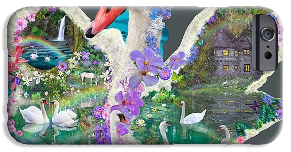 Swans... iPhone Cases - Swan Day Dream iPhone Case by Alixandra Mullins