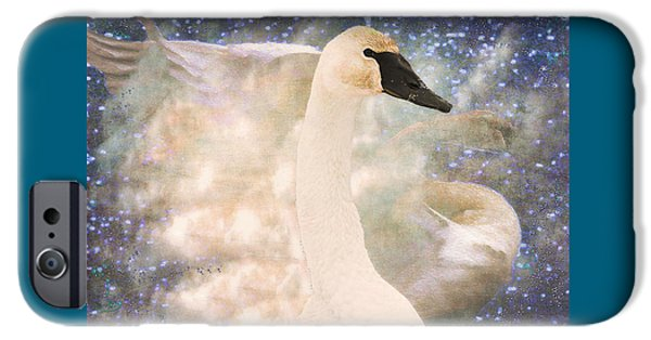 Abstract Digital iPhone Cases - Swan Journey iPhone Case by Kathy Bassett