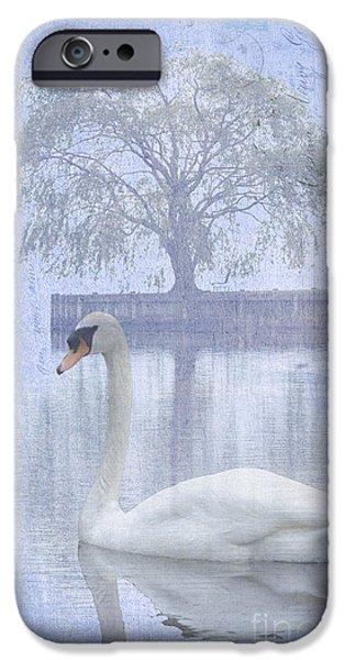 Waterscape Mixed Media iPhone Cases - Swan Lake by a Tree iPhone Case by ArtyZen Studios - ArtyZen Home