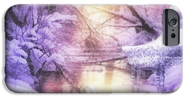 Covered Bridge iPhone Cases - Swan Lake iPhone Case by Mo T