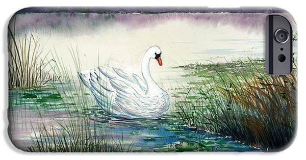 Award Winning Art iPhone Cases - Swan Lake iPhone Case by Steven Schultz
