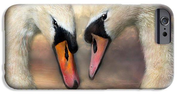 Swans... iPhone Cases - Swan Love iPhone Case by Carol Cavalaris