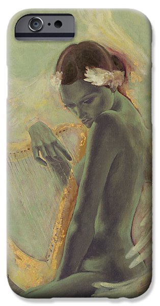 Swans... Paintings iPhone Cases - Swan Song iPhone Case by Dorina  Costras