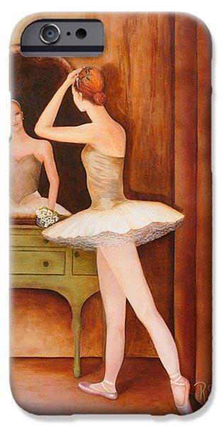 Dressing Room Paintings iPhone Cases - Swan Song iPhone Case by Rachel Engelking