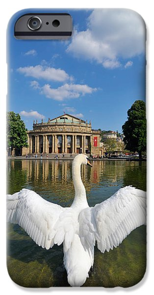 Swans... iPhone Cases - Swan spreads wings in front of State Theatre Stuttgart Germany iPhone Case by Matthias Hauser