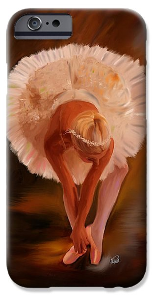 Ballerina Artwork iPhone Cases - Swan Warming Up 1 iPhone Case by Angela A Stanton