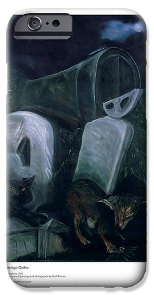 Headstones Paintings iPhone Cases - Swanage Gothic iPhone Case by Artist Geoff Francis