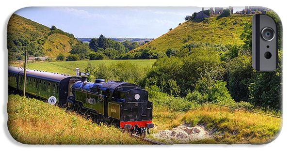 Ruin iPhone Cases - Swanage steam railway iPhone Case by Joana Kruse