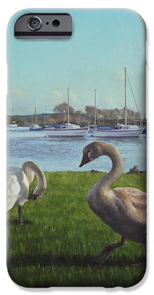Boats In Water Paintings iPhone Cases - swans at Christchurch harbour iPhone Case by Martin Davey