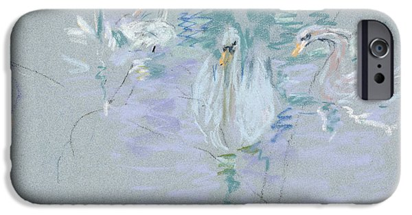Swan iPhone Cases - Swans iPhone Case by Berthe Morisot
