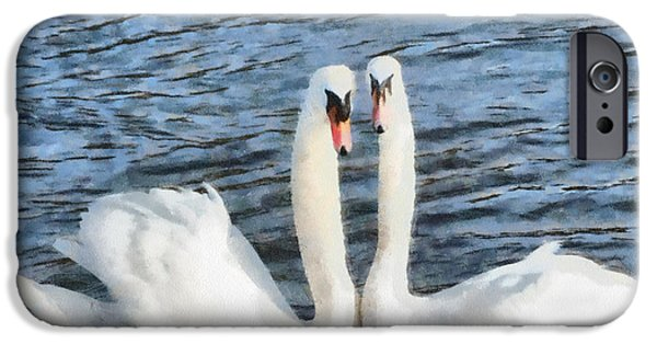 Couple iPhone Cases - Swans in Watercolour iPhone Case by Roy Pedersen