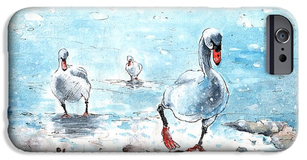 Switzerland Drawings iPhone Cases - Swans On The March iPhone Case by Miki De Goodaboom