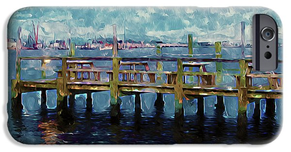 Wooden Platform Paintings iPhone Cases - Swansboro Dock 1 iPhone Case by Lanjee Chee