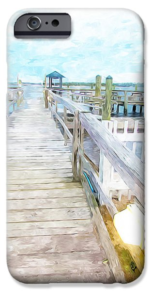 Wooden Platform Paintings iPhone Cases - Swansboro Dock 4 iPhone Case by Lanjee Chee