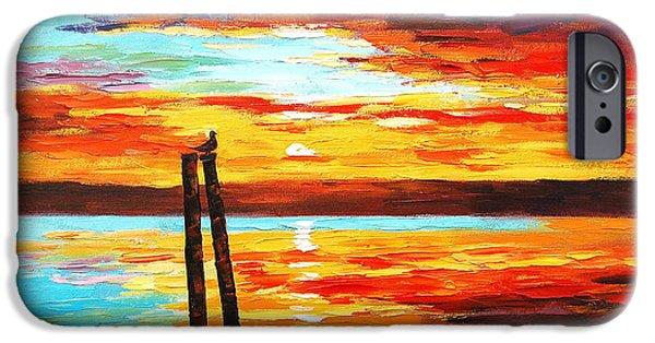 Ocean Sunset iPhone Cases - Swansea Sunset iPhone Case by Graham Gercken