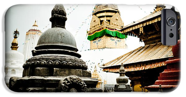 Tibetan Buddhism iPhone Cases - swayambhunath stupa Kathmandu iPhone Case by Raimond Klavins