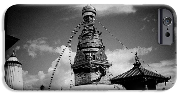 Ruins Pyrography iPhone Cases - Swayambhunath temple black and white iPhone Case by Raimond Klavins