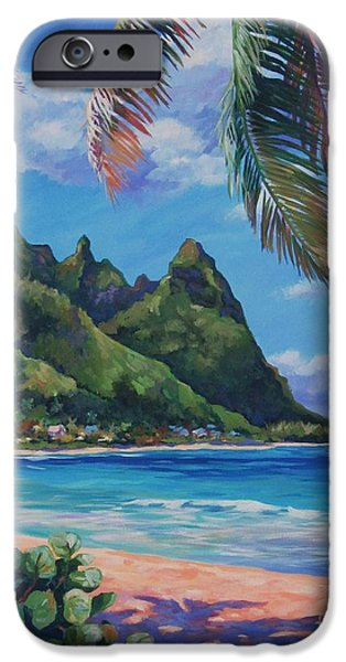 North Sea Paintings iPhone Cases - Swaying Palm on Makua Beach iPhone Case by John Clark