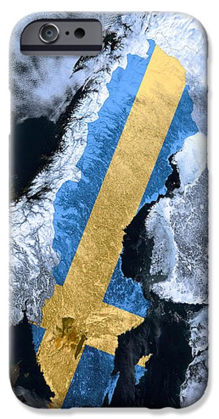 North Sea Mixed Media iPhone Cases - Sweden Pride iPhone Case by Daniel Hagerman