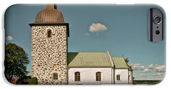 Headstones iPhone Cases - Swedish Church iPhone Case by Mountain Dreams