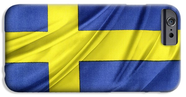 Silk iPhone Cases - Swedish flag iPhone Case by Les Cunliffe