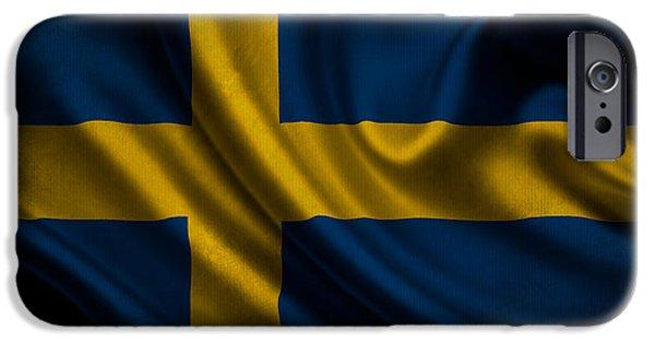 Waving Flag Mixed Media iPhone Cases - Swedish flag waving on canvas iPhone Case by Eti Reid
