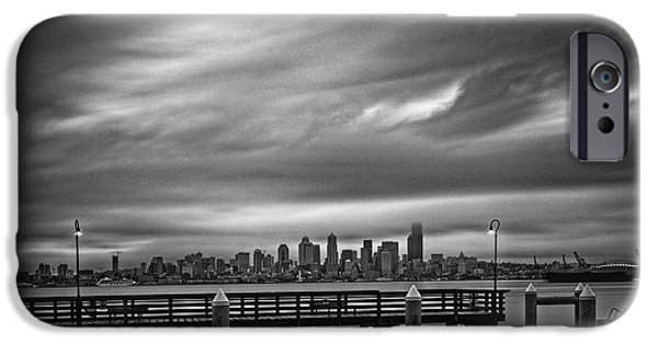 Safeco iPhone Cases - Sweeping Vista of Downtown Seattle from Alki Beach - Seattle Washington iPhone Case by Silvio Ligutti