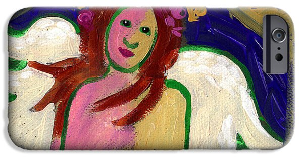 Wreath Paintings iPhone Cases - Sweet Angel Abstract iPhone Case by Genevieve Esson
